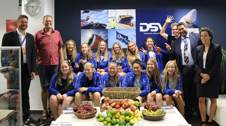 DSV Brondby volleyball team at the DSV Rubi office, Spain