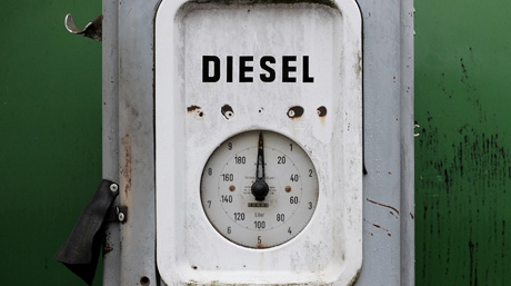 Image of diesel gauge at zero